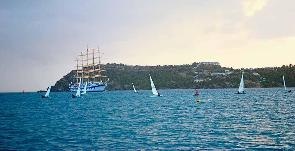 Royal Clipper and sailboats, Antigua