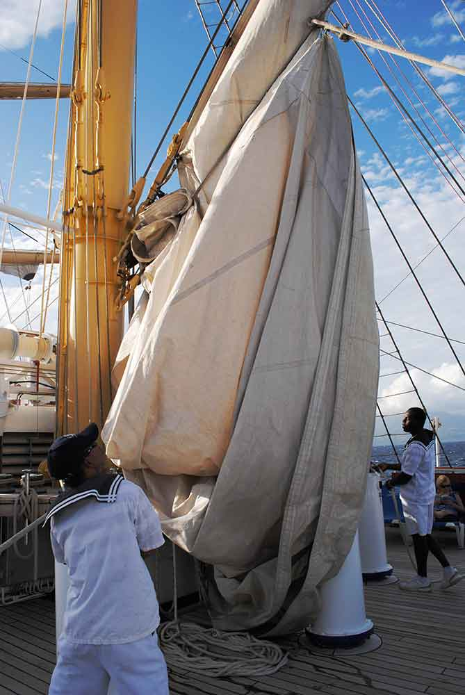 Raising the sails, Royal Clipper