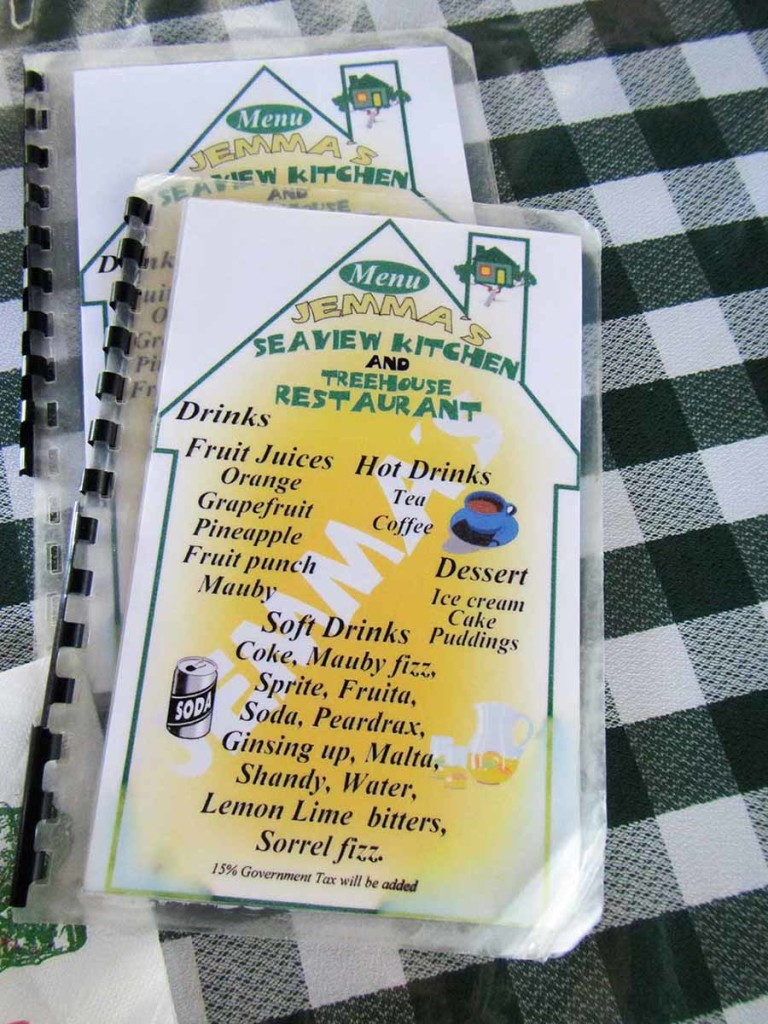 Jemma's Seaview Restaurant Menu