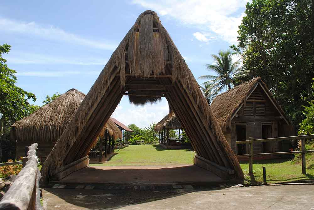 Entrance to the Kalinago Barana Aute and the Touna Kalinago Heritage Village, Dominica