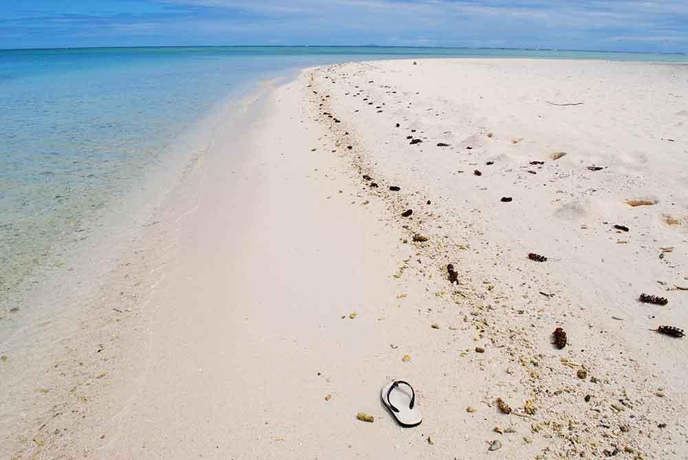 Flip flop on Motu Tapu beach