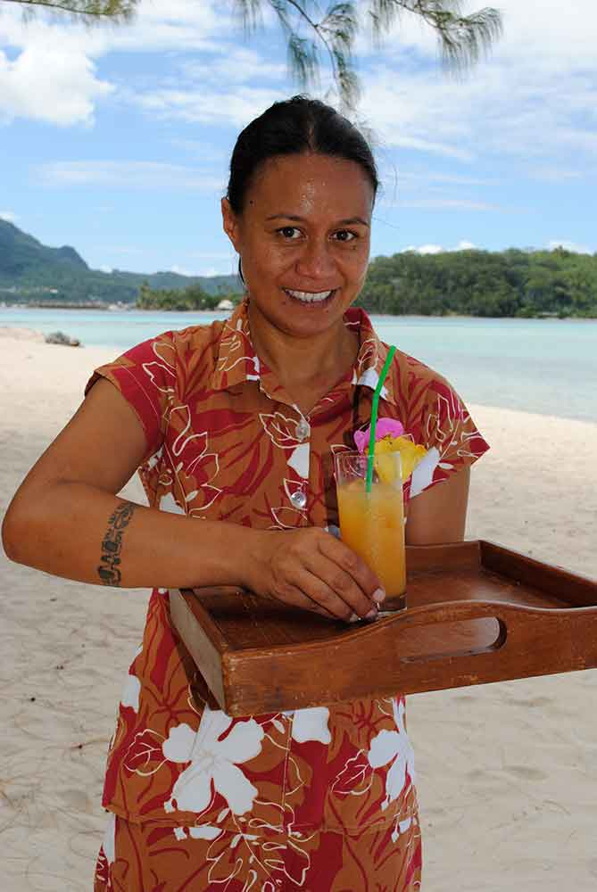 Server with tropical drink