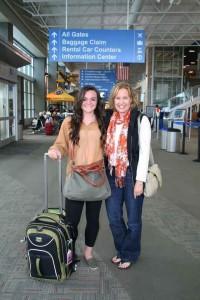 Anne with her niece, McKenna, on their way to Europe.