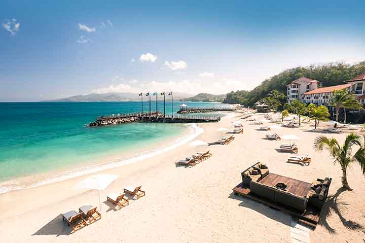 Sandals LaSource Grenada Pink Gin Beach