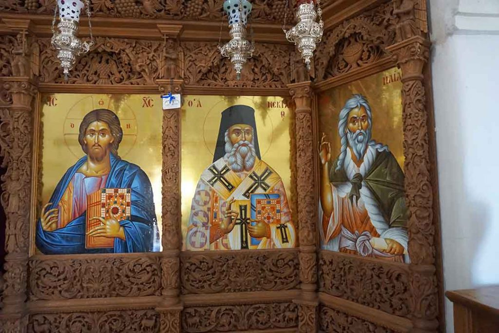 Icons inside the church at the Profit Ilias Monastery.
