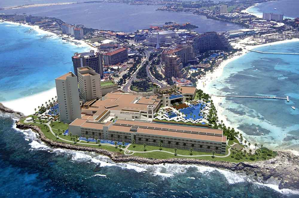 Aerial view of the Hyatt Ziva Cancun all-inclusive resort. (Photo: Hyatt Resorts)