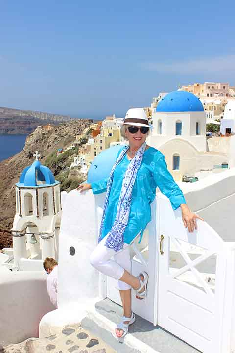 Debbra Dunning Brouillette, Tropical Travel Girl, Santorini photo shoot, StudioKristo.com