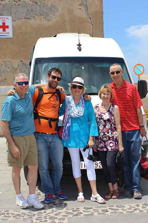 Us with Kristo, as we wrapped up our photo shoot in Oia.