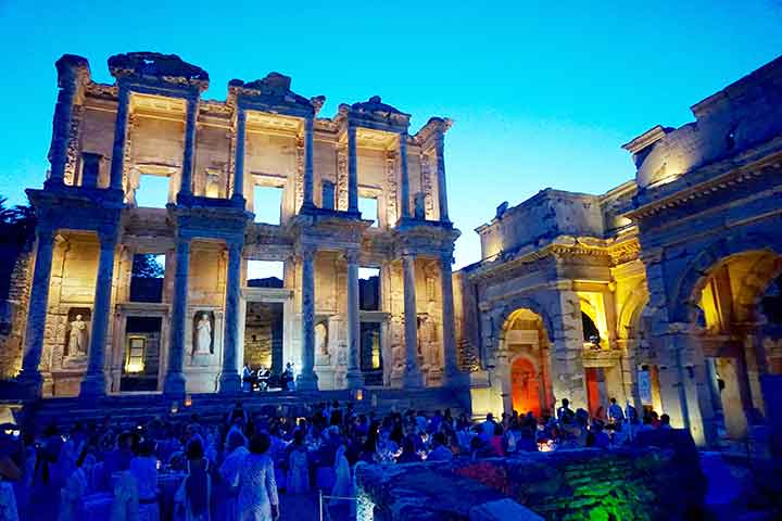 The special private event on this cruise is an Evening in Ephesus, which includes a five-course dinner served in front of the remaining facade of the Celsus Library.