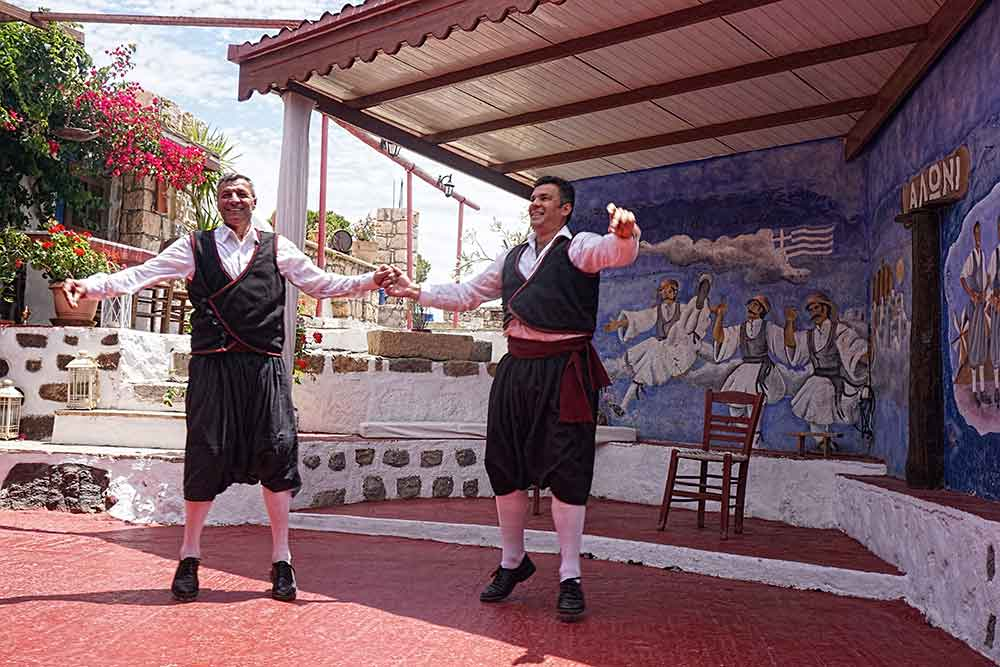 Greek folk dancers in Patmos demonstrated the traditional syrtos dance, and then we got to join in!