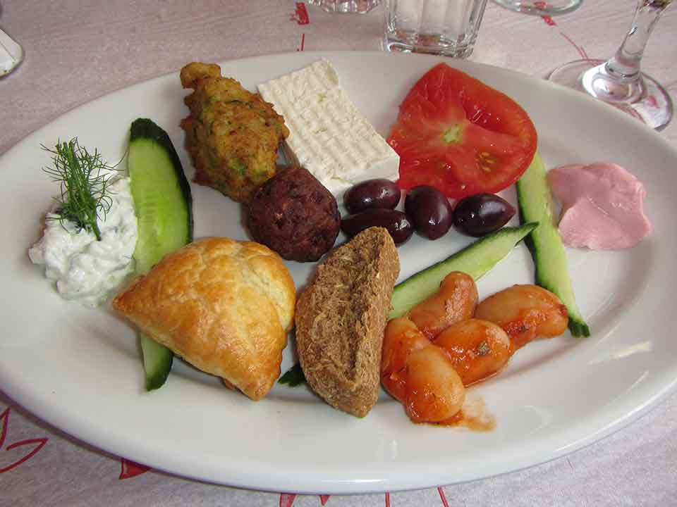 Meze platter at the taverna on Patmos.