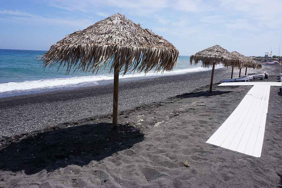 Black sand beach on Santorini (Photo: Debbra Dunning Brouillette)