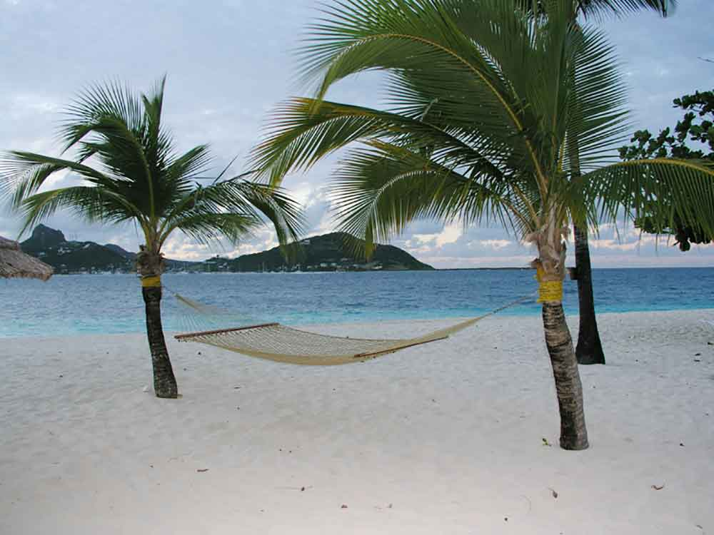 Palm Island, Grenadines, beach and hammock