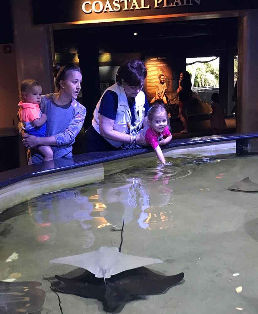 North Carolina Aquarium at Pine Knoll Shores Touch Tank with kids