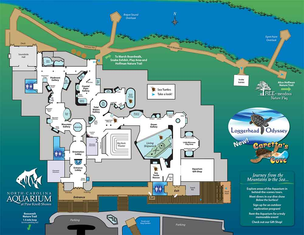 Map - North Carolina Aquarium at Pine Knoll Shores