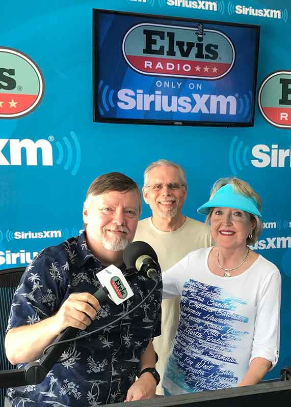 My husband, Stephen, and I with Big Jim Sykes, DJ for Elvis Radio, SisriusXM, broadcasting 24/7 Live From Graceland.