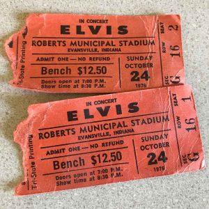 Elvis ticket stubs, Roberts Stadium, Evansville, IN, October 24, 1976
